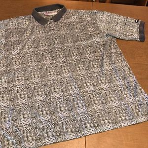 VTG SLAZENGER Geometric Pattern Golf Polo Shirt XL